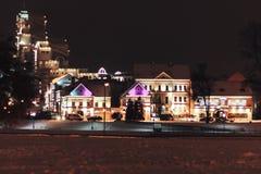 老城市晚上 库存照片