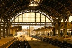 老城市火车站 免版税库存照片