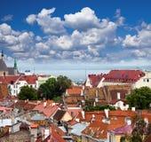 老城市的屋顶。Tallinn.Estonia.Cityscape视图  免版税库存照片