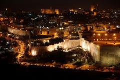 老城市经典耶路撒冷晚上 免版税图库摄影