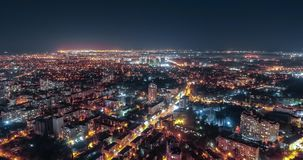 老城市街市的空中timelapse在傲德萨,乌克兰 城市光和交通在城市的老部分的晚上 股票视频