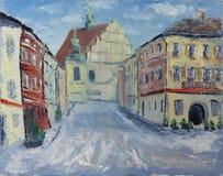老城市街道在冬天,云彩,雪,油画 免版税库存图片