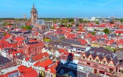 老城市,德尔福特,荷兰鸟瞰图  免版税库存照片
