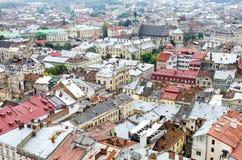 老城市从上面 图库摄影