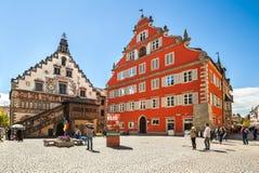 老城镇厅在林道,博登湖,巴伐利亚,德国 图库摄影