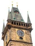 老城镇厅在白色的布拉格查出背景 库存照片