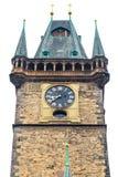 老城镇厅在白色的布拉格查出背景 免版税库存图片