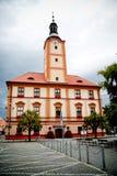 老城镇厅在Susice,捷克共和国 库存照片