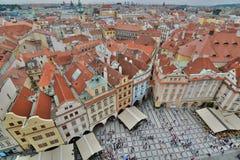 从老城镇厅塔的全景 布拉格 cesky捷克krumlov中世纪老共和国城镇视图 免版税图库摄影