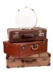 老堆手提箱 库存图片
