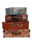 老堆手提箱 库存照片