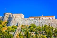 老堡垒在赫瓦尔岛镇,克罗地亚 免版税库存照片