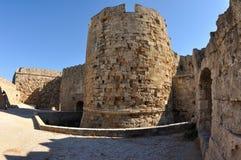 老堡垒塔,罗得岛 库存照片