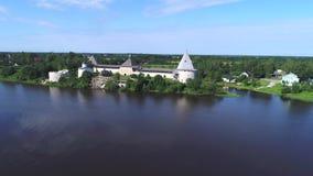 老堡垒的看法在一晴朗的7月天 Staraya拉多加,列宁格勒地区 俄国 股票视频