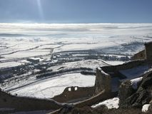 老堡垒鲁佩亚在冬天-罗马尼亚 库存图片