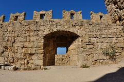 老堡垒,罗得岛的墙壁 免版税库存照片