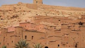 老堡垒Ait Benhaddou,阿特拉斯山脉,摩洛哥,非洲全景射击 股票录像