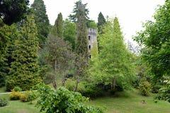 老塔在庭院里 免版税库存图片