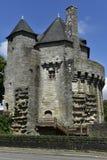 老塔在瓦讷,布里坦尼,法国的历史中心 库存图片