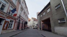 老塔林 建筑学、老房子、街道和邻里 爱沙尼亚 股票录像