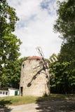 老塔风车在Holic,斯洛伐克,垂直的构成 免版税库存图片