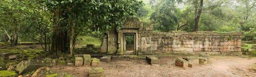 老墙壁和门道入口, Baphuon寺庙,吴哥窟,柬埔寨 免版税库存照片