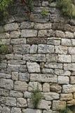 老墙壁的圆角落从石灰石的,被缠绕的pla 库存照片