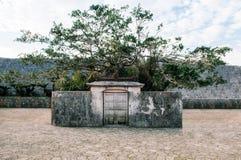 老墙壁首里城堡在清楚的蓝天,那霸,冲绳岛,日本下 免版税库存图片