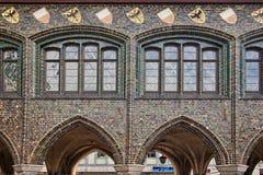 老大厦门面在吕贝克,德国 图库摄影