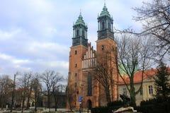 老大教堂在美丽的老市波兹南,波兰 免版税库存照片