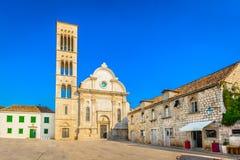 老大教堂在赫瓦尔岛,克罗地亚 免版税库存图片
