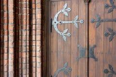 老大教堂的门的细节在里加 库存图片