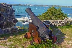 老大炮在Marigot,圣马尔滕 免版税库存照片