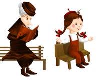 老太婆女孩长凳clipart动画片样式例证白色 免版税库存照片