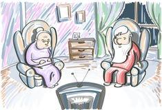 老夫妇人妇女手表电视在扶手椅子坐 库存例证