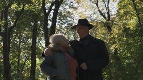 老夫妇在公园走在阳光下 股票视频