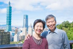 老夫妇selfie在台北 图库摄影