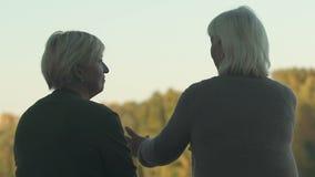 老女性谈话与朋友外面,一起休息在公园,通信 股票视频
