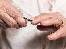 老妇人切制钉在家 图库摄影