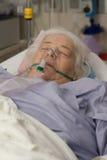 老妇人在与氧气面罩的医院病床上 免版税库存照片