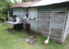 老妇人在多米尼加共和国 库存照片