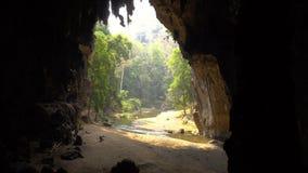 老妇人收集在大洞底部的棒鸟粪与流动从肠的河的 Lod洞泰国, Pai 影视素材