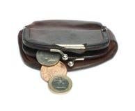 老妇人棕色皮革钱包 免版税库存照片