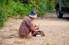 老妇人泰国人使用准备藤为吃的蒋酱之叶的刀子 免版税库存照片