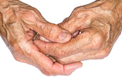 老妇人的手 免版税图库摄影