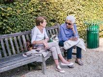 老妇人伴侣在一条长凳聊天在巴黎公园 免版税库存照片