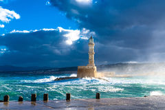 老威尼斯式港口灯塔 库存图片