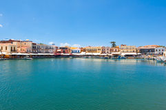 老威尼斯式港口 罗希姆诺市,克利特海岛,希腊 免版税库存照片