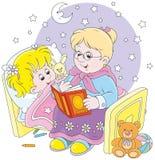 老婆婆和孙女读书童话 免版税库存照片