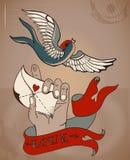 老学校样式纹身花刺充满人的手和爱的华伦泰卡片 库存图片